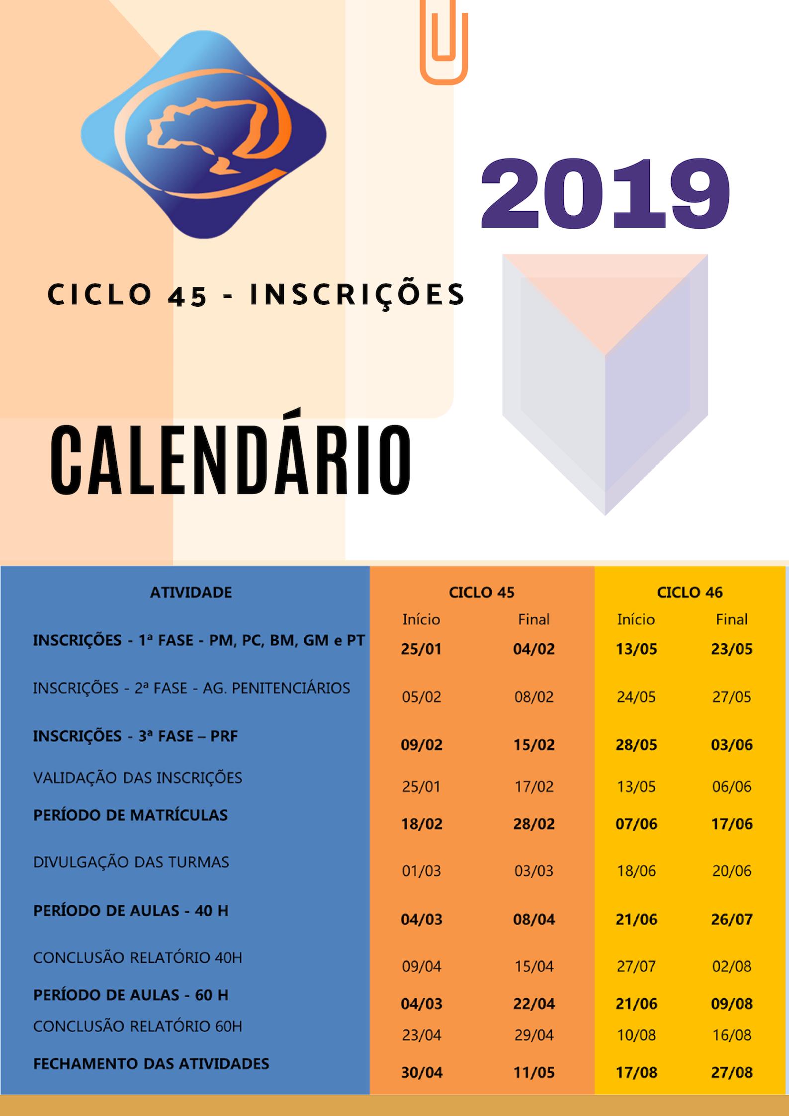 Calendário - 2019
